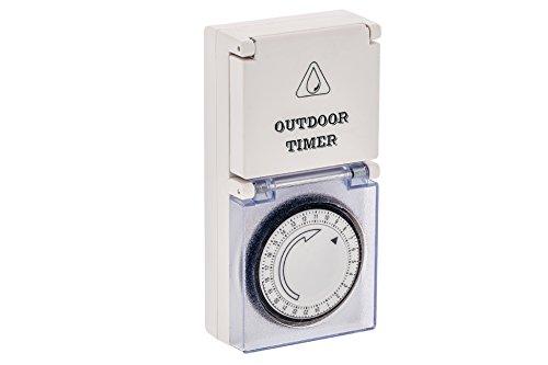 Preisvergleich Produktbild Outdoor Zeitschaltuhr IP44 - Analog - Kindersicher - 16 (2) A / 230 V Max. 3500 Watt - 96 Schaltzeiten - Garten - Außen Außenbereich