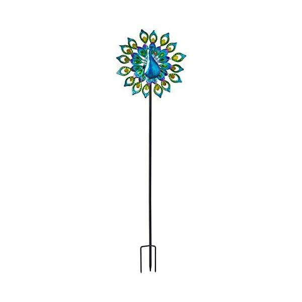 garden mile® Magnificent Peacock Solar Power Garden Wind Spinner | Colourful Exotic Bird Outdoor Garden Lawn and Patio… 1