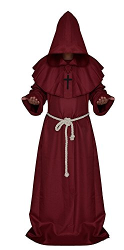 Medieval Monk Robe Cosplay Halloween Hooded Cape Costume Cloak, Red, Size Medium