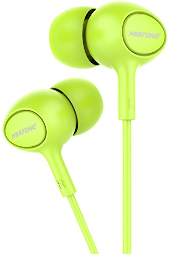 Earbuds with Microphone, MIATONE In-Ear Headphones, Wired Ergonomic Earphones Ear Buds - Green