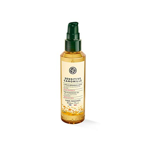 Yves Rocher Sensitive Camomille Reinigungsöl, seidige Reinigungspflege zum Entfernen von Make-Up, 1 x Flacon 150 ml