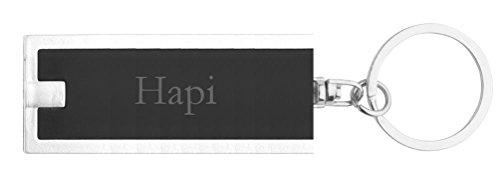 Llavero plástico personalizado con lámpara LED con Hapi (nombre de pila/apellido/apodo)