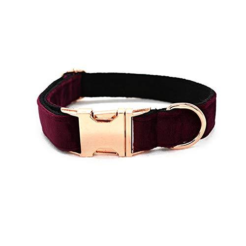 Pet Supplies - Collar para perro, hebilla de metal, suave y duradero, hecho a mano, tejido de algodón puro, disfraz de franela rojo vino, Dog Collar-S