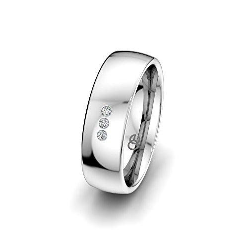 Moncoeur anello di fidanzamento Classic Trilogy, in argento Sterling .925, fede nuziale dotata di 3 cristalli Swarovski, da donna e argento, 49 (15.6), colore: bianco, cod. ATM00604
