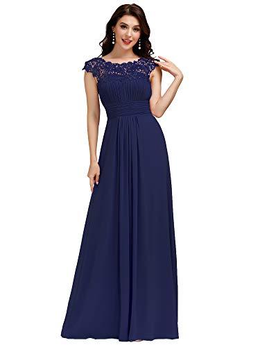 Ever-Pretty Vestido de Fiesta Encaje Largo para Mujer A-línea Gasa Escote Redondo Corte Imperio Elegantes Azul Marino 38