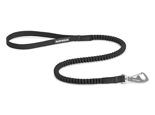 RUFFWEAR Short Extendable Dog Lead, Breeds, Length: 0.75 m (2.5 ft) - Stretches to 1.3 m (4.25 ft), Width: 15 mm (0.6 in), Obsidian Black, Ridgeline Leash, 40501-001