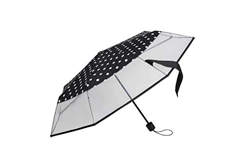 Falconetti - Paraguas transparente plegable para mujer, pequeño paraguas compacto y ligero,...