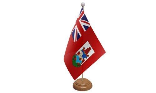 Bermudas pequeño de Mesa Bandera Con Estante de madera + 59mm Botón Insignia