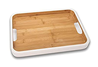 Large White Edged Bamboo Serving Tray