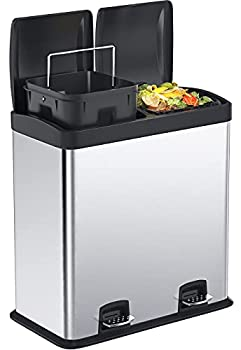 Kitchen Trash Can 16 Gallon Dual Stainless Steel Trash Can Recycle Step Garbage Bin with Lid Double Compartment Large Garbage Can for Home Office by STEELGEAR