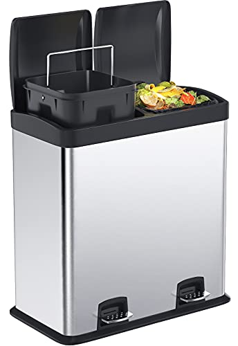 Kitchen Trash Can, 16 Gallon Dual Stainless Steel Trash Can Recycle Step Garbage Bin with Lid, Double Compartment Large Garbage Can for Home, Office by STEELGEAR