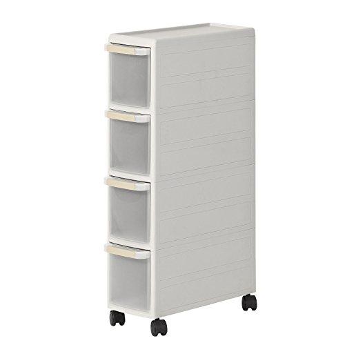 SoBuy® Rollwagen mit Vier Schüben, Nischenwagen mit 2 Deckplatten, Schubladencontainer, Küchenregal, FRG41-HG