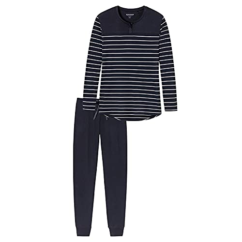 Schiesser Damen Zweiteiliger Schlafanzug Anzug lang 161069, Blau (gestreift), 44