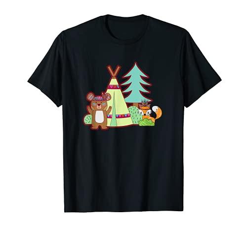 Lindo oso y zorro Camping en un Tipi Camiseta
