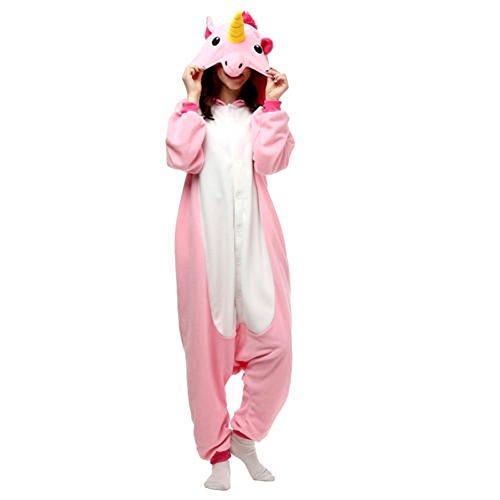 Unisex Erwachsene Kinder Pyjamas Cosplay Nachtwäsche Tier Onesie Kostüme Schlafanzug Tieroutfit tierkostüme Jumpsuit (Erwachsene XL Für Hohe 176-185CM, rosa einhorn)