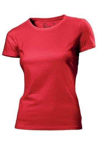 Hanes - T Shirt Femme Uni sans Etiquette Bio sans Logo Manche Courte Rouge Rouge 42