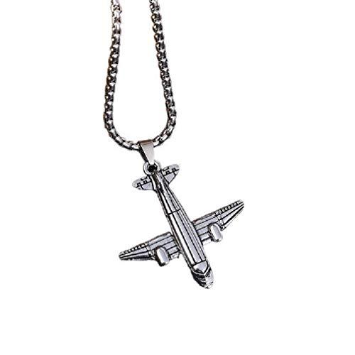 Collar con colgante de avión para hombres y jóvenes, punk rock, con cadena de 27,6 pulgadas, collar hip hop, collar amuleto de piloto, joyería regalo para viajeros aéreos