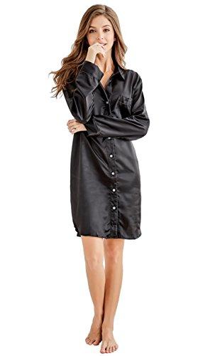 Damen Nachthemd Negligee, Nachtwäsche Nachtkleid, Satin Schlafhemd Schlafanzug, Langarm Sleepwear von Tony & Candice (S=EU (36-38), Schwarz)