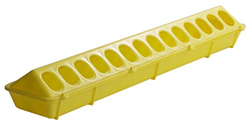 Little Giant Plastic Flip-Top Poultry Feeder (20-inch) Heavy Duty Plastic Feeding Tray with Holes (Yellow) (Item No. 820YELLOW)