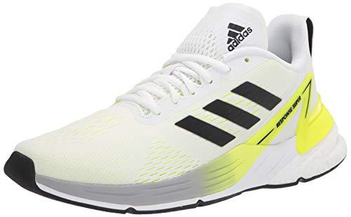 adidas mens Response Super Running Shoe, White/Black/Solar Yellow, 6.5 US