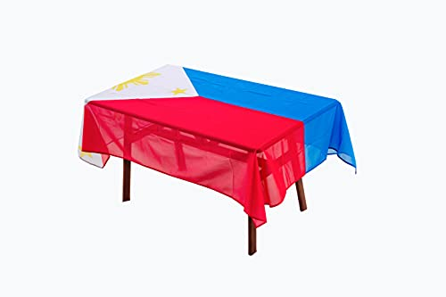 Rectangular Tablecloth Philippines Filipino Flag Tablecloth Fade-Resistant Washable National Flag Tablecloth, Suitable for Kitchen Dining Family Gatherings and Outdoor Events,59 Inches 83 Inches.