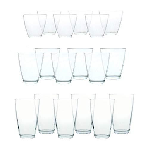 18 pièces Set de verres Excellent en trois tailles différentes – Verres à long drink, Verres à Jus, Verres à Whisky – Van Well