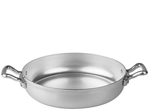 Pentole Agnelli Tegame Alluminio Family Due Manici cm38 Pentole e Preparazione Cucina, Acciaio Inossidabile, Argento, 38 cm