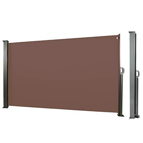 CCLIFE Seitenmarkise Ausziehbar Sichtschutz Windschutz Sonnenschutz TÜV mit Alu-Rolle, Farbe:Braun, Größe:160x300cm
