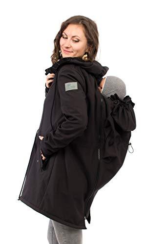 Viva la Mama - Tragejacke, Tragemantel Rücken und Bauch Softshell Umstandsjacke Babytragen - PINA schwarz - M