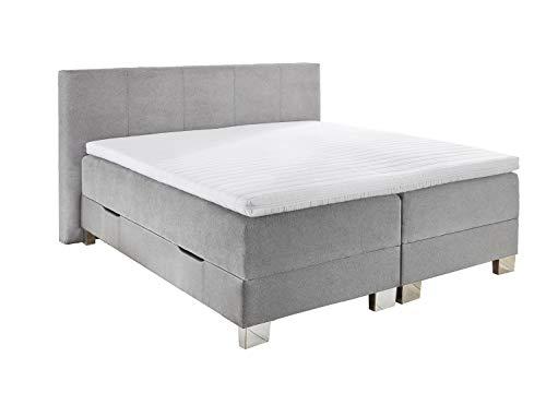 GMD Living Boxspringbett RINO mit Bettkasten in hellgrau, verschiedenen Größen, Farbe:hellgrau, Größe:LF 140 x 200