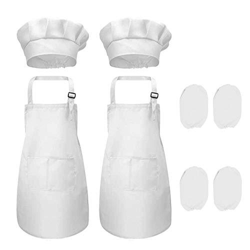 smileh Juego de Chef para Niños Kids Delantal Sombrero y Manga de Cocina para Cocinar Pintura o Decoración para Hornear Infantiles Delantal de Chef de Cocina para Niños Pintura 4-12 Años Blanco