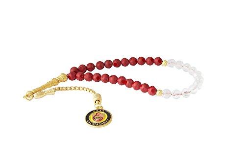 Remi Bijou Gök-Türk Gebetskette - Tesbih Galatasaray GS für Fußballfans - rot, ColorName:Gold