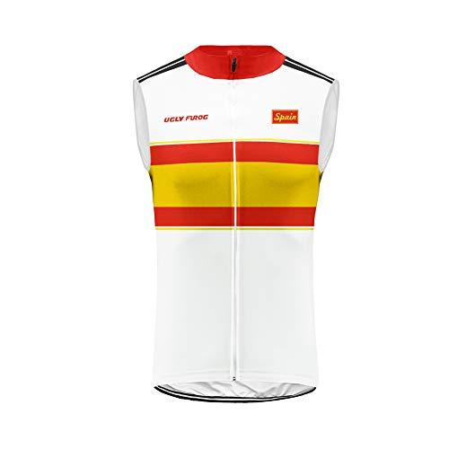 Uglyfrog Designs Maillot de Ciclismo para Hombre sin Mangas Transpirable Bicicleta se Seca rápidamente Ropa Chaleco Conjunto España TGQX02
