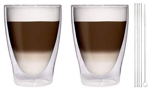 Filosa 2X 370ml XL doppelwandige Latte Macchiato-Gläser + 2X Glas-Trinkhalme + 1x Bürste - edle Thermogläser mit Stohhalme und Bürste von Feelino