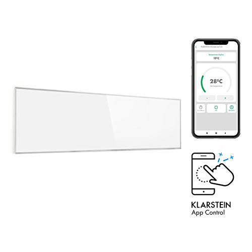 Klarstein Wonderwall Smart - Infrarot-Heizung - Wandheizung, Heizgerät, WiFi, Thermostat, Wochentimer, Abschaltfunktion, Allergiker-geeignet, weiß, 30x100cm, 300W