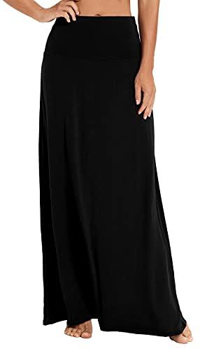 EXCHIC Women's Bohemian Style Print/Solid Elastic Waist Long Maxi Skirt (L, Black)