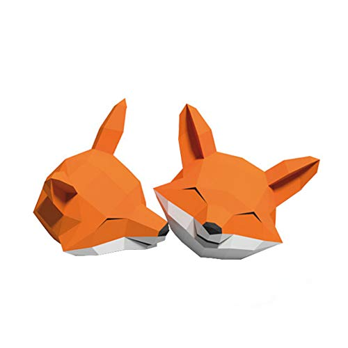 WGXY DIY Paper Trophy 3D Origami Animal Decoration DIY Handmade Fox Head Carving 3D Tridimensional Paper Crafts Escultura Animal Building