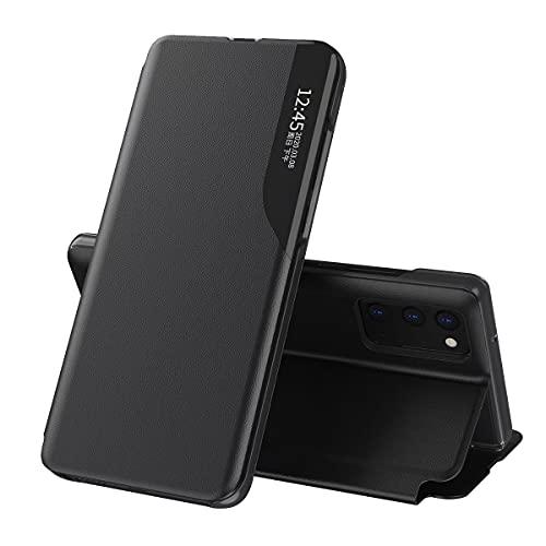 Wuzixi Cover per Huawei Mate 30 PRO 5G,Custodia Protettiva per Specchio Intelligente con Supporto Pieghevole, Guscio Protettivo in Pelle PU, Adatto per Cover Protettiva Huawei Mate 30 PRO 5G.Nero