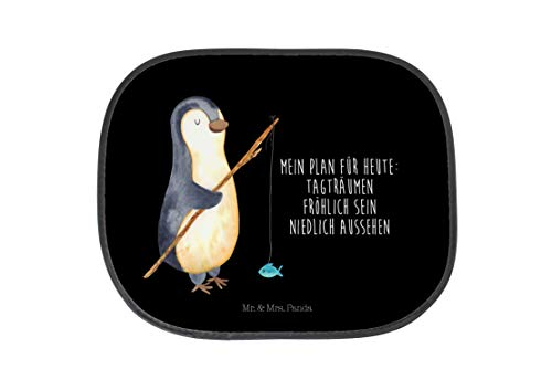 Mr. & Mrs. Panda Auto, Kinder, Auto Sonnenschutz Pinguin Angeler mit Spruch - Farbe Schwarz