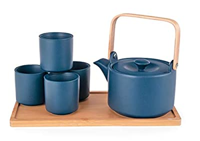 Happy Sales HSTS-KYTBLU, Ceramic Teapot with Stainless Steel Infuser and Wooden Handle 28 fl ounce and Four Tea Cups with Bamboo Serving Tray Tea Set, Teal Blue