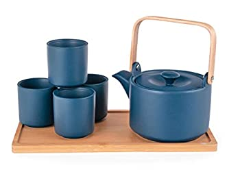 Happy Sales Ceramic Teapot with Stainless Steel Infuser and Wooden Handle 28 fl ounce and Four Tea Cups with Bamboo Serving Tray Tea Set  TealBlue