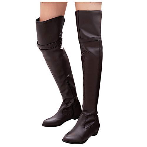 Dasongff Damen Hohe Stiefel Stiefeletten Overknee Stiefel Flache Retro Kniestiefel Warme Schneestiefel Reitstiefel Kniehohe Stiefel Winterschuhe