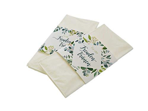 50 Stück Papierbanderolen Freudentränen Taschentücher Hochzeit Eukalyptus Greenery Leaves (Banderolen mit Klebepunkte)