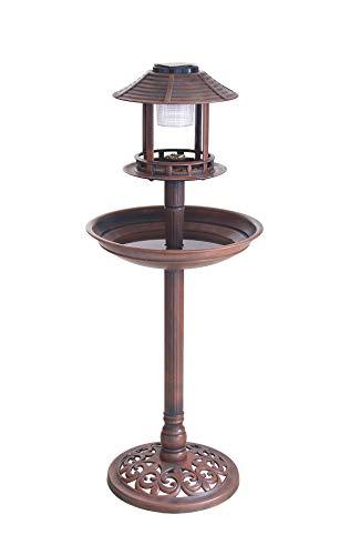 BigDean Vogelbad Vogeltränke XXL H: ca. 98cm mit Standfuß Vogel Futterstelle Vogelhaus Tränke Solar Leuchte Solarlicht Rost-Optik braun