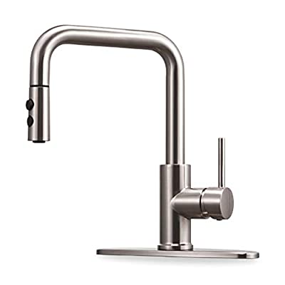 Kitchen Faucet with Pull Down Magnetic Docking Sprayer Brushed Nickel,Stainless Steel Kitchen Sink Faucet with Pull Out Sprayer Single Handle with Deck Plate