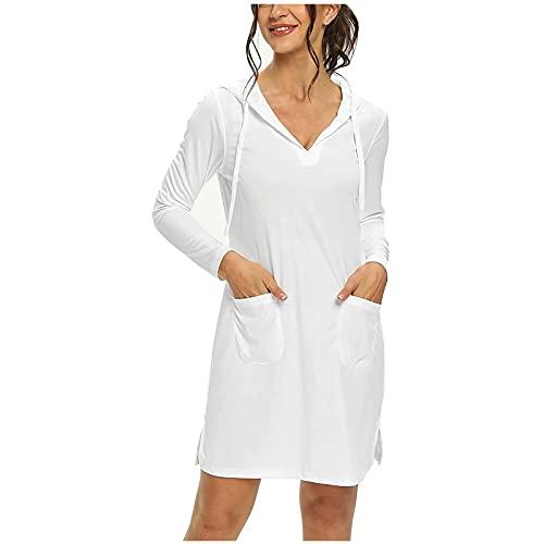 SLENDIPLUS Vestido feminino casual com capuz e manga comprida, liso, macio, confortável, gola V, com capuz e bolsos, E branco, XXG