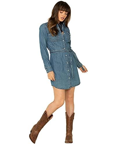 Wrangler Women's Retro Long Sleeve Western Snap Dress, Mid Denim, Large