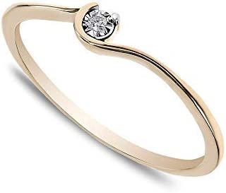 Buy Jewels 14k Solid Gold Minimalist Dainty Promise Stacking Ring for Women with Natural Diamond in Miracle Plate