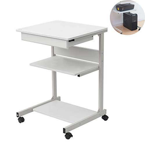 Mobile Computer Desktop Table, Huis Bedroom Nachtkastje Laptop Mini Bureau, Rolling Sofa Side Snack Table, met wielen en Storage Layer,White