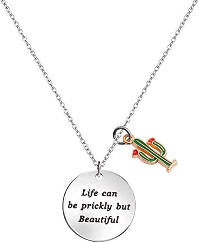 Cactus Necklace Saguaro Cactus Charm Necklace Life Can Be Prickly But Beautiful Inspirational Necklace Gift for Her Friendship Desert Jewelry (Saguaro Necklace)